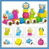 柔らかいプラスチック漫画動物はブロックのトレインのおもちゃセットをアセンブルする