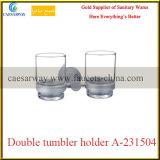 Gesundheitliche Ware-Badezimmer-Zubehör aller doppelte Glasmessinghalter