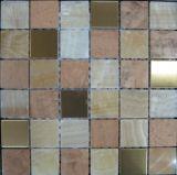 Acero inoxidable mixta de piedra de mármol del mosaico del azulejo para la construcción de viviendas (FYSM091)