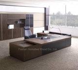 Tableau exécutif de patron en bois en forme de L noir de qualité (HF-SIG326)
