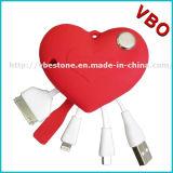 Розовая форма 3 сердца в кабелях 1 USB для Appple и Android телефонов