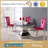 Дешевая круглая таблица и стулы Tempered стекла обедая