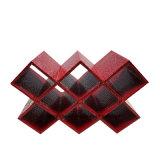 Het geometrische Freestanding Synthetische Rek van de Wijn van het Leer - Fles Zwarte/8