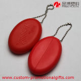 Monedero oval al por mayor de la moneda del silicón con el encadenamiento dominante