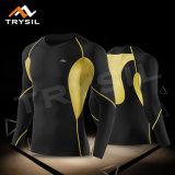 人のLong-sleeved長袖シャツの圧縮のトレーニングの上の男性のスポーツの摩耗の体操の適性の衣類の循環の上