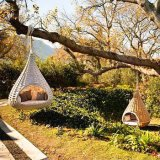 森林屋外の庭浜の家具のラウンジのハングのバスケットの椅子のSunbedのLoungerのベッドの寝台兼用の長椅子