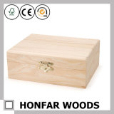 DIY를 위한 미완성 처리되지 않는 단단한 나무로 되는 선물 상자 저장 상자