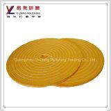 O amarelo veste a roda lustrando de lustro do espelho da multa da superfície do aço inoxidável do algodão