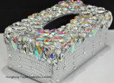 Caja cristalina de lujo del rectángulo de papel de tejido del Rhinestone del sostenedor del coche para la decoración interior creativa del hogar de la oficina del vehículo (TB-010)