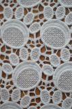 円パターン刺繍が付いているポリエステルレースファブリック