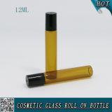 rullo di vetro ambrato 12ml sulla bottiglia con il rullo del metallo