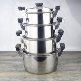 Crisol de la sopa de la maneta de la baquelita del doble del acero inoxidable (FT-01703)