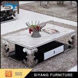 Mesa de acero inoxidable sala de estar muebles de centro de cristal lateral