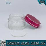 50ml effacent le choc crème facial en verre avec les couvercles en aluminium colorés