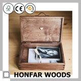 Caixa de armazenamento de madeira Dedo-Articulada da noz para o presente relativo à promoção