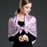 純粋な女性のピンクのための絹によって印刷されるスカーフ