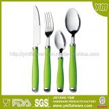 Jeu en plastique de vaisselle plate d'acier inoxydable de traitement de vert de constructeur de vaisselle plate de Jieyang