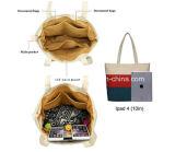 女性買物をするハンドバッグは安い綿の縞のキャンバス浜のトートバックをカスタマイズした
