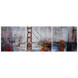 Pittura a olio del gruppo della mobilia di arte della parete con il ponticello per la decorazione domestica