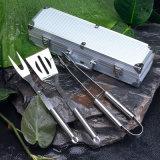 Ensemble d'outils de gril barbecue, 3 éléments, Logo peut être imprimé sur boîte, ensemble de combinaison d'outils de barbecue, 3 jeux Outils de gril barbecue en acier inoxydable avec boîte en aluminium