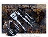 El conjunto de herramientas de la parrilla del Bbq, 3 items, insignia se puede imprimir en el rectángulo, conjunto de la combinación de la herramienta del Bbq, 3 herramientas de la parrilla de la barbacoa del acero inoxidable de los conjuntos con el rectángulo de aluminio