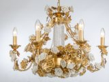 Top Sale Acabamento de latão Ceramic Flower Luxo Interior Chandelier for Hotel