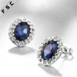 Femmes Vente en gros Top Design Blue Big Stone White Gold Earring