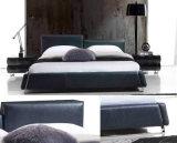 Modernes elegantes Entwurfs-Schwarz-echtes Leder-Bett (HC278)
