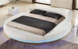 Кровать неподдельной кожи самомоднейшей спальни круглая с светом СИД (HC558)