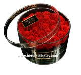 Caixa acrílica feita sob encomenda da flor do presente de Balck com logotipo da impressão