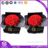 正方形の花ボックスを包む贅沢なハンドメイドの光沢紙