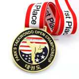 Medaglia molle di sport del Taekwondo dello smalto dell'oro in lega di zinco su ordinazione dell'America