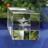 3D Ambacht van de Presse-papier van de Kubus van de Gravure van de Laser voor de Gift van het Kristal