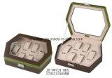 Cuoio dei monili di memoria di esagono/casella di legno/cassa per la vigilanza & i monili