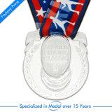 Médaille faite sur commande de récompense de souvenir de l'argent 3D d'antiquité en métal