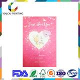 Tarjeta de cumpleaños adorable de papel mate de la venta caliente con la decoración en forma de corazón