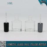 kundenspezifische transparente Glas10ml nagellack-Flasche mit Schwarzem und Silber-Pinsel-Schutzkappe