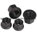 Noix Hex noire de bride d'acier du carbone DIN 6923