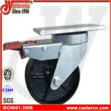 6 pouces Sg Iron Double frein Trash Bin Castor