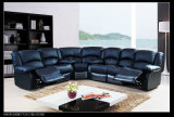 不精な男の子のソファーの横たわる家具のラウンド・コーナの黒のGenuienの革ソファー