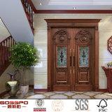 Porte en bois solide extérieure de double intérieur antique de noix (GSP1-019)