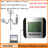 Profissional 433MHz Wireless Weather Station Clock com SD Card