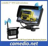 Bus Sistema de vigilancia de vehículos de camiones RV Monitor de 7 pulgadas + kit inalámbrico de visión trasera para cámaras de seguridad