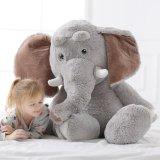Jouet enorme mou d'éléphant de copain de jeu de gosses bourré par gris de peluche
