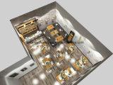 A cafetaria comercial opor o quiosque do alimento da cabine do recipiente da barra