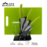 Color rose Kitchen Knife Set avec Holder et Chopping Board