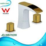 Torneira Misturadora de lavatório com bico duplo e espessura de ouro e branco