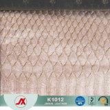 China-Lieferanten-Großverkauf Snakeskin Zeilen Entwurfs-Vergoldung-Veloursleder-Gewebe für Handtasche