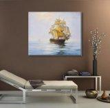 キャンバスの絵画の古典的な帆船
