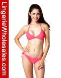 Reizvoller Push-uprote Normallack-Dreieck-Bikini-Oberseiten-Zeichenkette-Badebekleidung